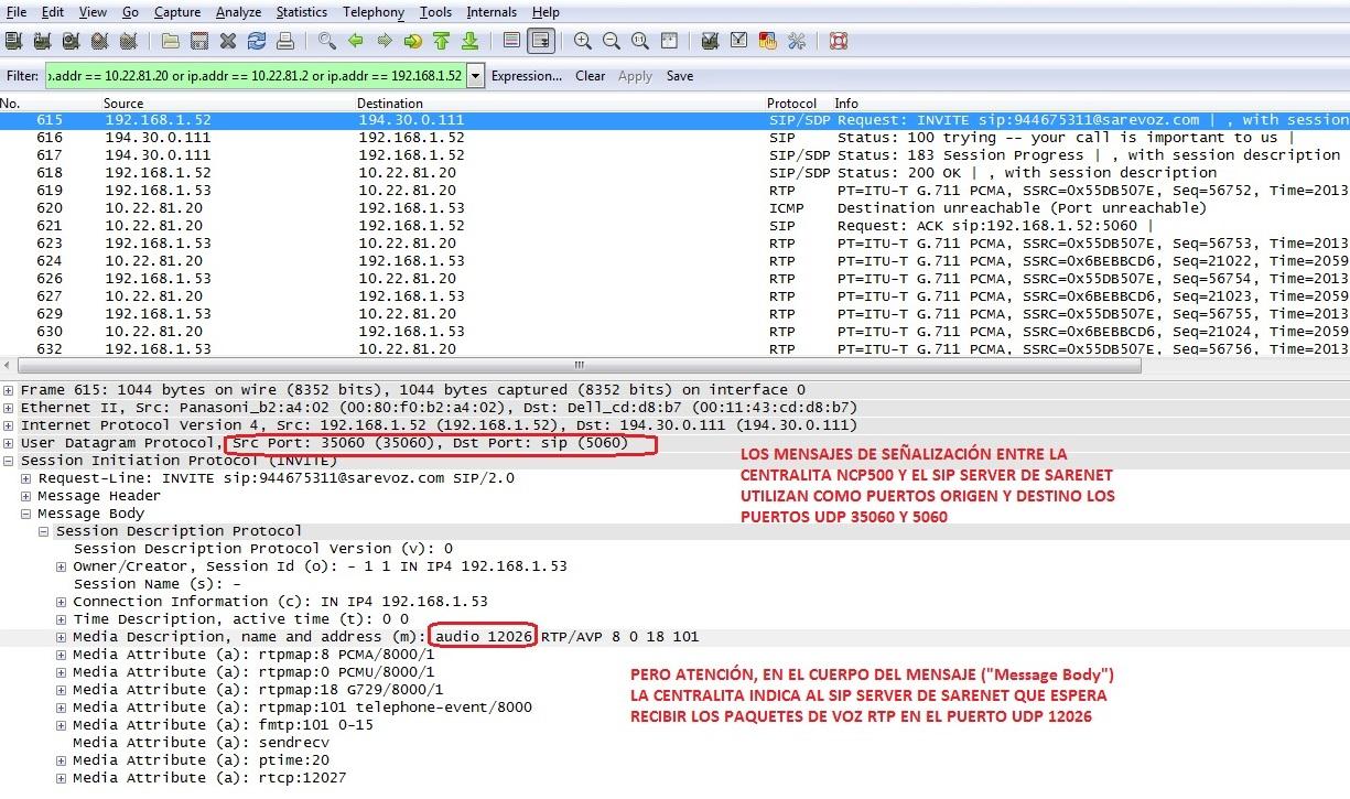 Puertos UDP necesarios en llamadas SIP con la NCP500_2