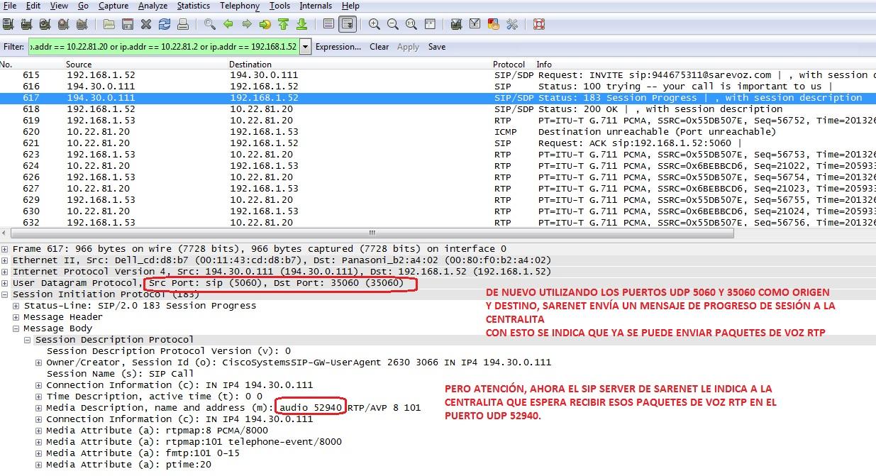 Puertos UDP necesarios en llamadas SIP con la NCP500_3
