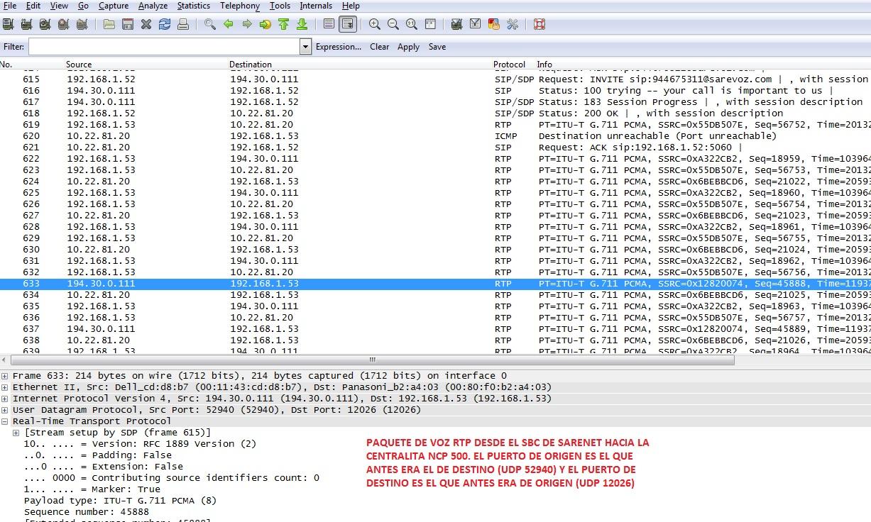Puertos UDP necesarios en llamadas SIP con la NCP500_5